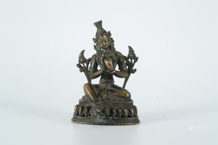 Qing Dynasty, bronze statue of Green Tara buddha