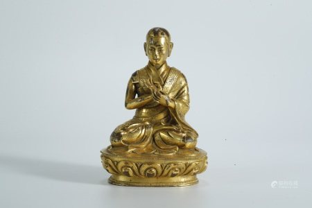 Ming Dynasty, gilt bronze statue of master buddha