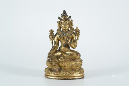 Ming dynasty, gilt bronze statue of Green Tara buddha