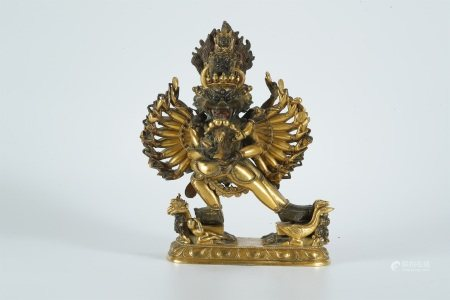 Middle of Qing dynasty, gilt bronze statue of Yamantaka buddha