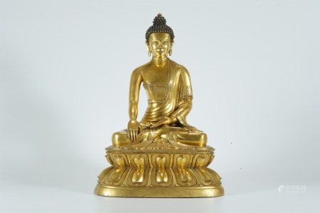 Early Qing dynasty, gilt bronze statue of Sakyamuni buddha