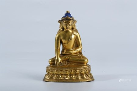 Ming dynasty, Nepal style gilt bronze seated statue of Bhaisajyaguru buddha