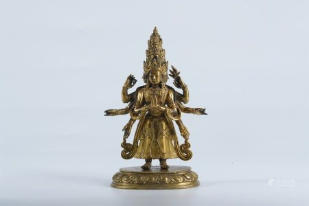 Qing dynasty, gilt bronze standing statue of Eleven-Headed Guanyin Bodhisattva