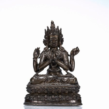 Qing dynasty, bronze seated statue of four-arm Guanyin Bodhisattva