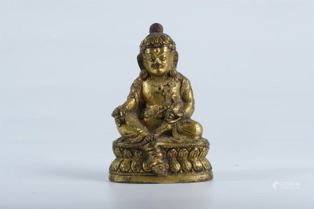 Ming dynasty, gilt bronze statue of yellow Jambala buddha