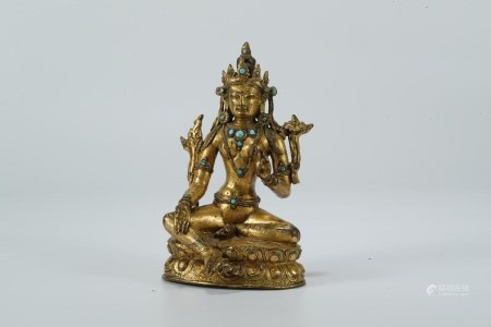 Chinese ancient gilt bronze statue of Green Tara buddha