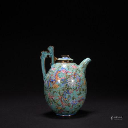 A enamel tea pot with flowers and phoenixs pattern