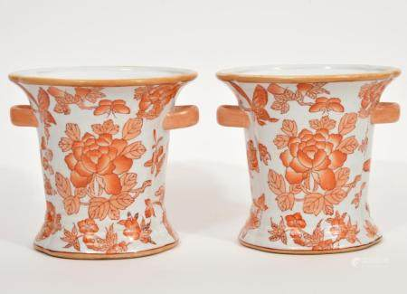 Pair Chinese Decorative Cache Pot