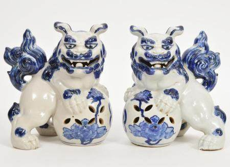 Chinese Blue & White Signed Porcelain Foo Dogs