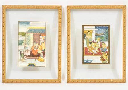 Pair of Indian Mughal Harem Paintings Glass Framed