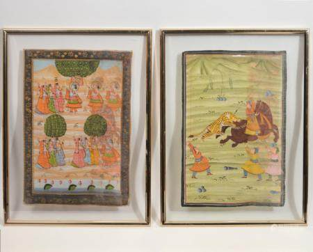 Indian Mughal Paintings on Silk Glass Framed