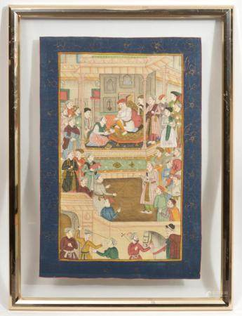 India Mughal Court Scene Painting on Silk