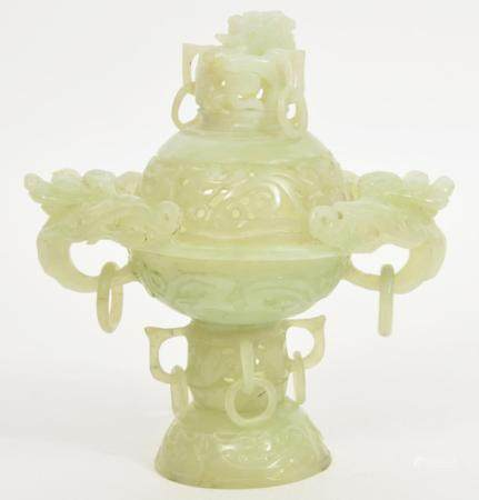 Chinese Hand-Carved Jade Censer
