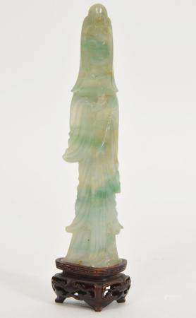 Chinese Hand-Carved Jade Guan Yin Figure on Stand