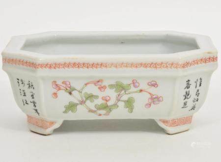 Chinese Famille Rose Porcelain Bulb Planter Signed