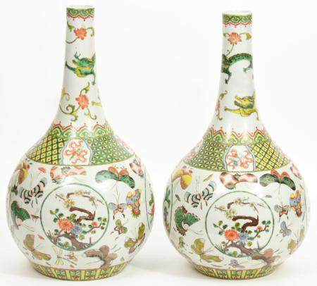 Pr. Chinese Hand Painted Bottle Neck Vases