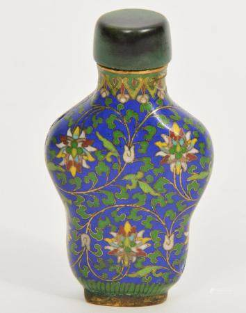 Chinese Cloisonne Snuff Bottle with Jade Lid