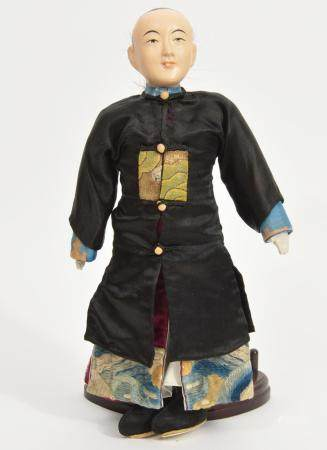 Chinese Doll with Carved Wooden Head