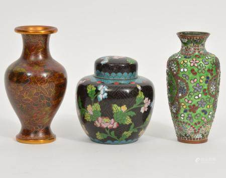 Chinese Cloisonné Vases & Tea Caddy