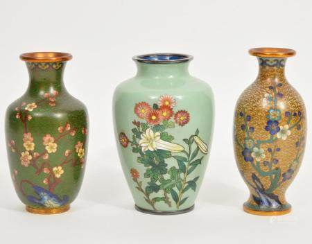 Lot of 3 Chinese Cloisonné Vases
