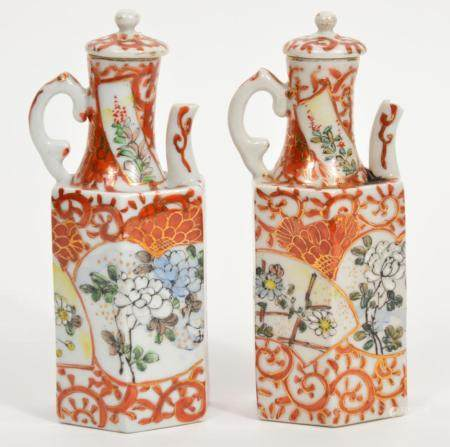 Pair of Chinese Porcelain Small Decorative Teapots