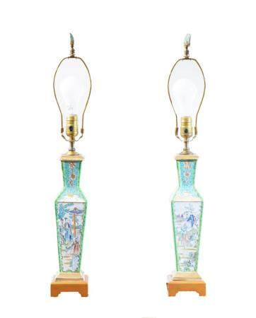 Pair, 19th C. Chinese Famille Rose Lamps