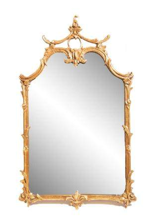 Chinese Chippendale Style Gold Tone Wall Mirror