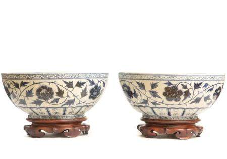 Pair, Chinese Blue and White Porcelain Punch Bowls