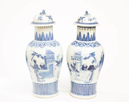 Pair of Chinese Porcelain Covered Vases