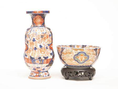 Two Japanese Hand Painted Imari Porcelain Vessels