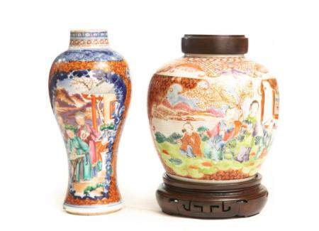 Two Chinese Export Rose Mandarin Porcelains