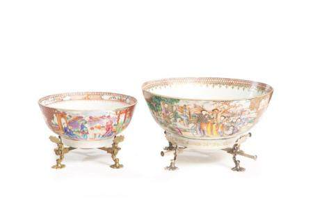 Two Chinese Export Mandarin Palette Punch Bowls