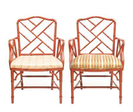 Pair,Chinese Chippendale Style Bamboo Motif Chairs