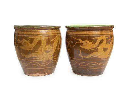 Pair of Asian Glazed Pottery Planters