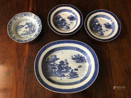 Four Chinese Blue & White Canton Porcelains