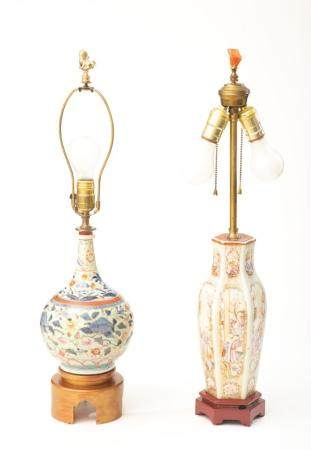 Group of Two Chinese Porcelain Vase Lamps