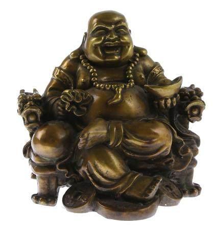 Statue en bronze : Bouddha avec bol, argent et sac à dos, assis sur le trône du dragon, 20e siè