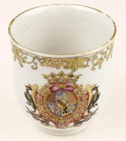 Tête de commande en porcelaine de Chine avec la famille rose, partie or en relief des armoiries