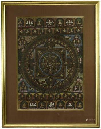 Thangka avec passe-partout en lin dans un cadre doré : images de la vie de Bouddha, seconde moi