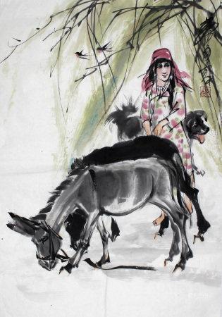 黄胄 牧驴图