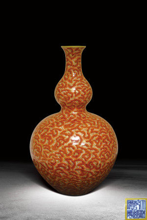 清  琺瑯彩礬紅鎏金百福葫蘆瓶 (大清乾隆年製)