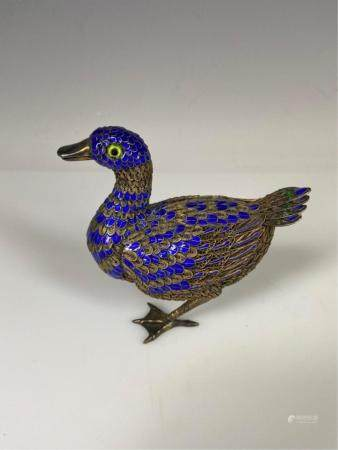 CHINESE SILVER AND ENAMEL BIRD