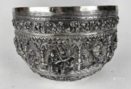 VERY LARGE ANTIQUE BURMESE SILVER BOWL
