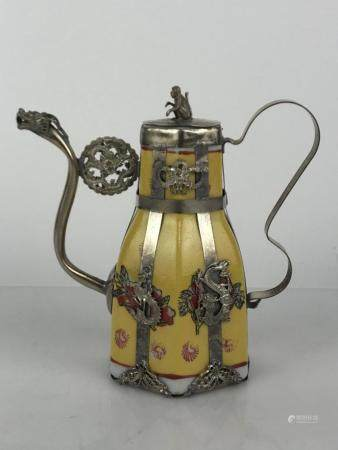 CHINESE PORCELAIN AND CLAD SILVER TEAPOT