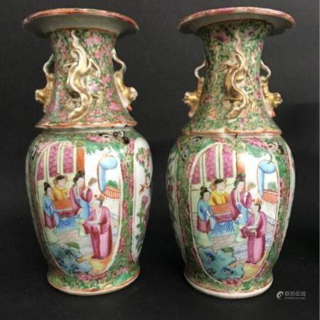 PAIR OF 19TH C. CHINESE ROSE CANTON PORCELAIN VASES