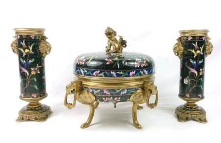 19TH C. FRENCH CHAMPLEVE ENAMEL GARNITURE