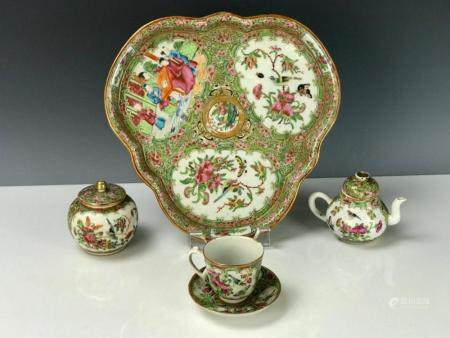 A GOOD 19TH C. CHINESE ROSE CANTON TEA SET