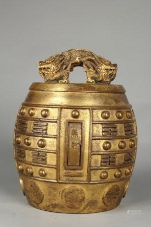 清铜鎏金八卦纹坐钟
