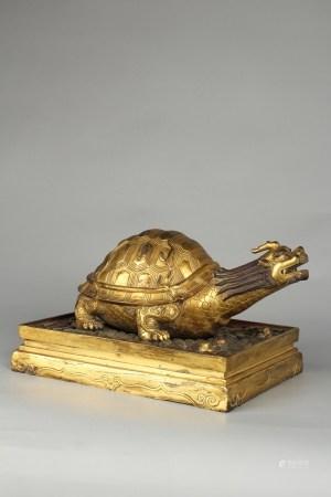 清铜鎏金龙龟