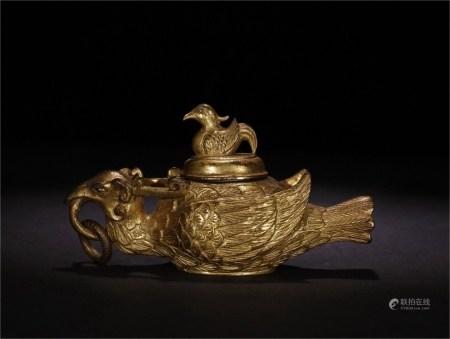 旧藏铜鎏金带盖獸鸟纹文房摆件